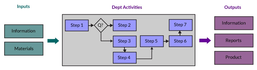 Figure 1: Flow of Inputs, Department Activities and Outputs