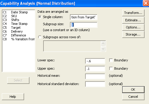 Figure 2: Capability Analysis Input Screen with Subgroup Size of 1