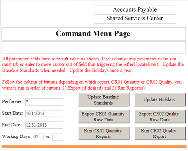 Figure 7: Command Menu Page