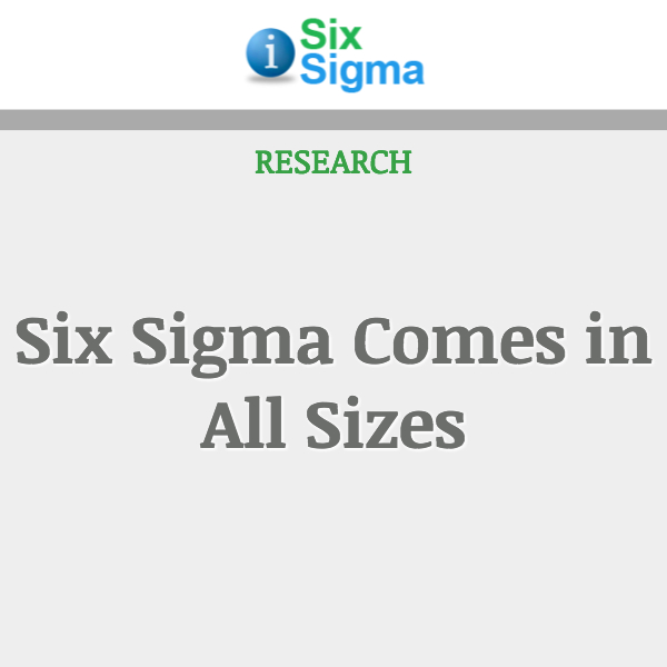 Six Sigma Comes in All Sizes