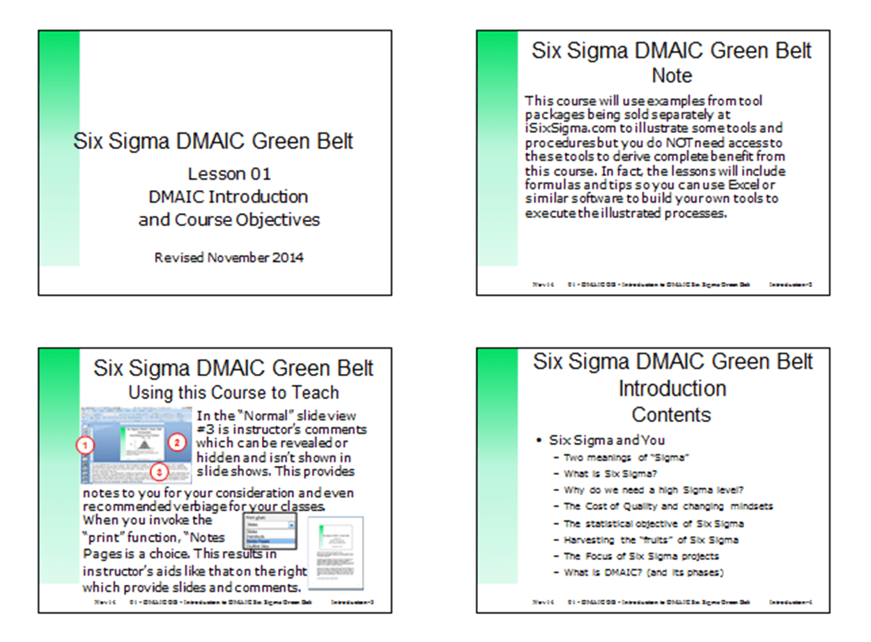 Six Sigma Dmaic Green Belt Training Slides Isixsigma