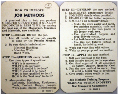1945 Job Methods improvement document from the U.S. War Production Board
