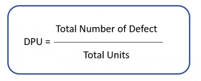 The DPU calculation, showing the total number of defects divided by the total units produced