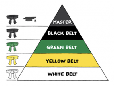 A graphic showing the belt designations in Six Sigma, with the Master Black Belt at the top