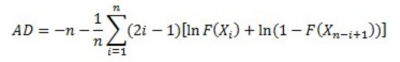 The formula for the Anderson Darling test