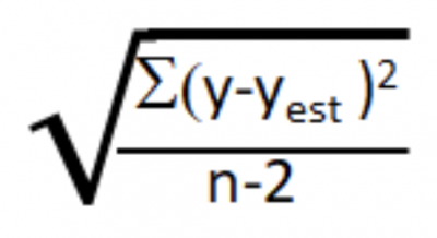 The formula for calculating a standard deviation with residuals
