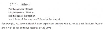 Fractional factorial DOE