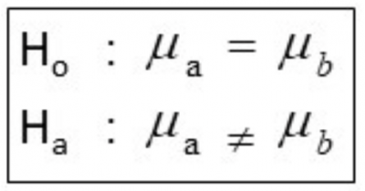 The formula for hypothesis testing