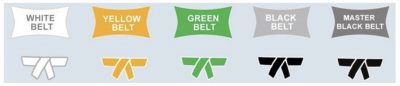 A graphic showing the Lean Six Sigma belt certifications progressing from White Belt to Master Black Belt