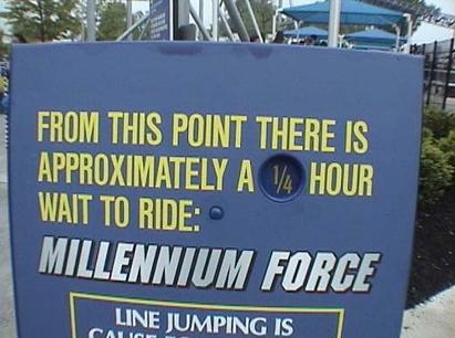 Figure 2: Millennium Force Roller Coaster Wait Time Sign