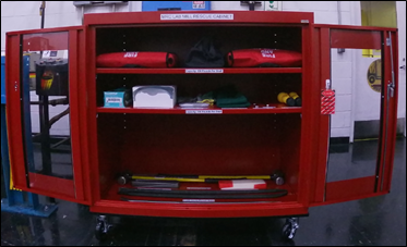 Figure 3: Rescue Cabinet, Tools and Supplies – Labeled and Visible